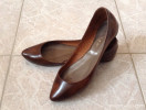 Jonak brown patent flat pumps