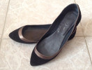 Jonak black suede flat pumps
